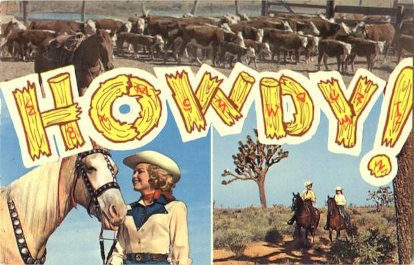 Howdy Cowboy Western Large Letter