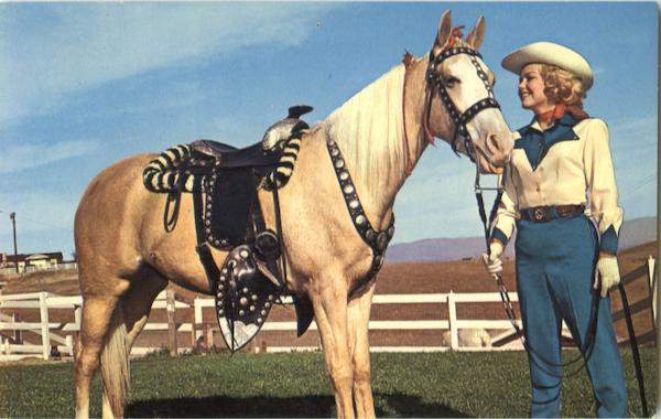 Cowgirl with Palomino Cowboy Western