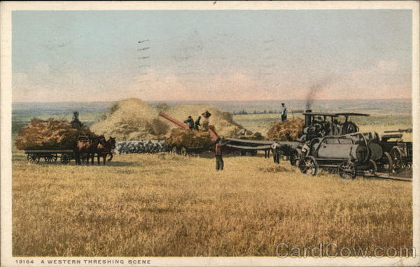 A Western Threshing Scene Farming