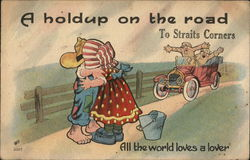 A Holdup on the Road to Straits Corners Postcard