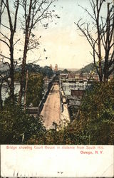 Bridge Showing Court House in Distance from South Hill