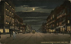 North Main Street by Night Postcard