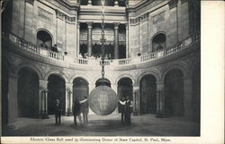 Electric Glass Ball Used in Illuminating Dome of State Capitol