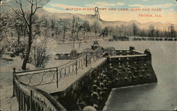 Winter Scene, Fort and Lake, Glen Oak Park