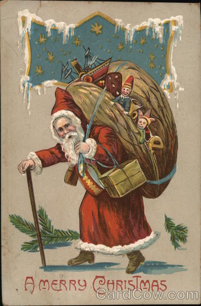 A Merry Christmas: Santa Holding A Walking Stick and a Bag of Toys