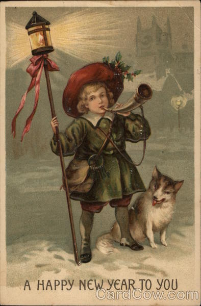 A Happy New Year - Boy with Dog Children