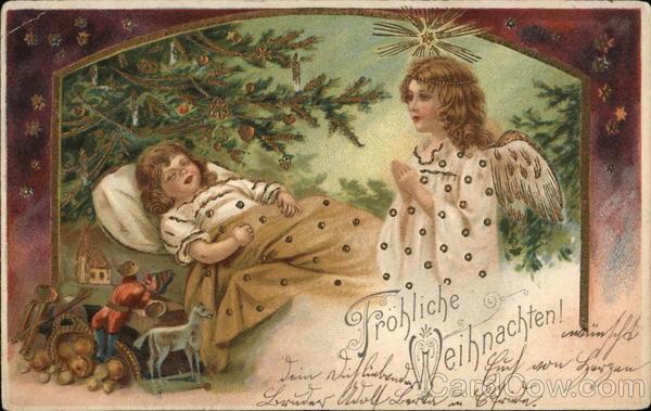 frohliche weihnachten angels postcard. Black Bedroom Furniture Sets. Home Design Ideas