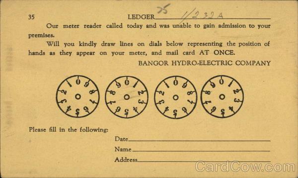 Bangor Hydro Electric Company Meter Reading Card Maine