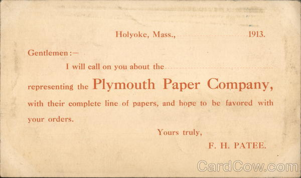 Plymouth Paper Company Holyoke Massachusetts Advertising