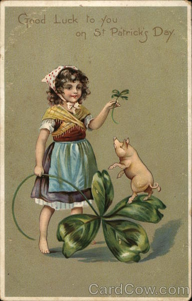 St Patrick's Day-Child Holding Clover with Pig St. Patrick's Day