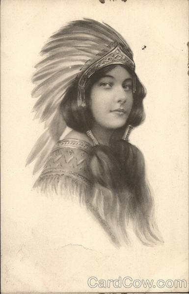 Drawing of Native American Girl Native Americana