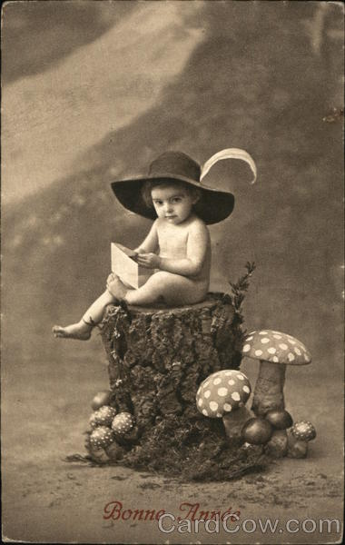 Bonne Annee A baby sits atop a tree stump wearing a hat and holding a letter.