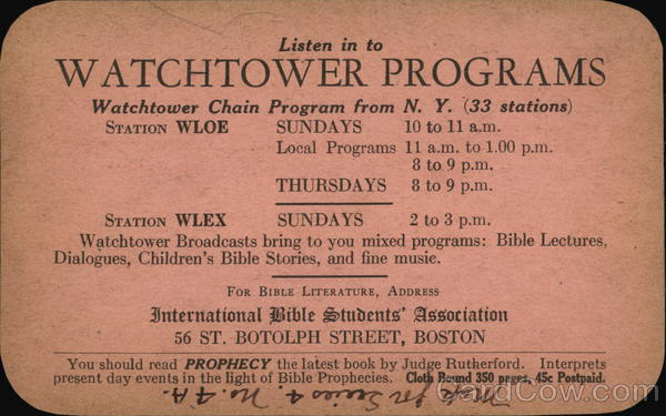 Watchtower Programs, International Bible Students' Association
