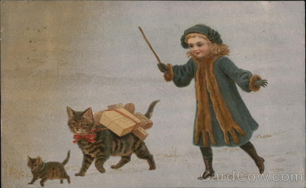 Girl with Cats Carrying Packages