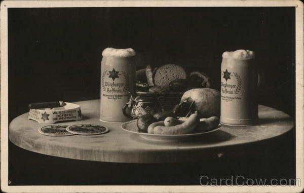 Advertisement Wurzburger Hofbrau B&W Photo of a table set with pub food