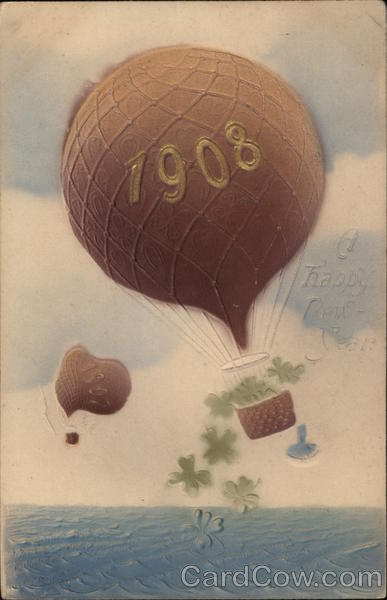 1908, A Happy New Year New Year's Hot Air Balloons
