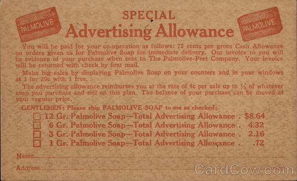 Palmolive Soap Advertising Allowance