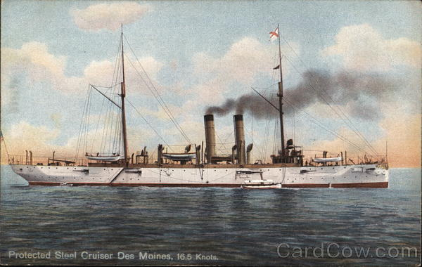 Protected Steel Cruiser Des Moines, 16.5 Knots Ships