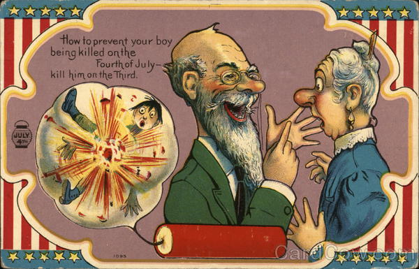 4th of July Cartoon of boy being blown up. Older man speaking to an old woman.