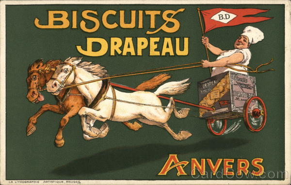 Biscuits Drapeau Anvers: Man Drives Horse Cart While Holding DP Flag