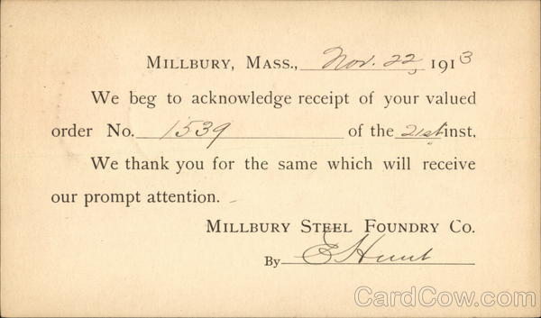 Order Receipt from Millbury Steel Foundry Co. Advertising