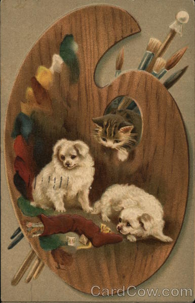 Dogs, Cats, and Artist's Pallette Multiple Animals
