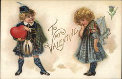 To My Valentine-Young Boy Holding Heart with Young Girl