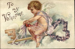 Cupid Flying Key with Flowers