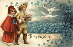To My Valentine Child - Boy and girl in field of violets doves flying.