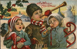 A Merry Christmas. Three children with toys in the snow