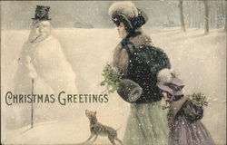 Christmas Greetings - Woman, child and dog in snow with snowman