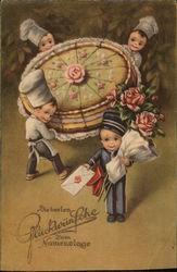 "German ""Congratulations"" - children with giant cake"