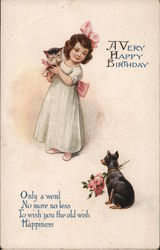 A Very Happy Birthday. A little girl holding a cat a sitting dog holding flowers.