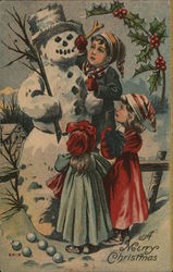 A Merry Christmas with Snowman and Children