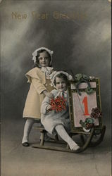 New Year Greetings - Children on Sled