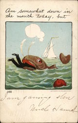 Man Inside the Mouth of a Whale: Am Somewhat Down in the Mouth Today, but Postcard