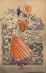 Easter Greetings: Woman With A Hat Holds Flowers