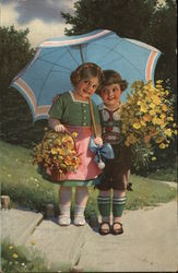 Boy and Girl Under Parasol
