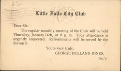 Little Falls City Club Postcard