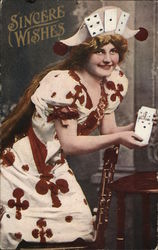 Sincere Wishes - Woman with Playing Cards