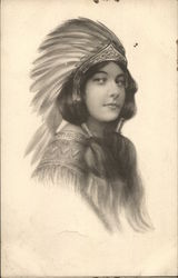 Drawing of Native American Girl