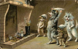 Four Cats Stand by a Hearth Postcard