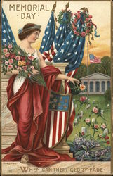 Memorial Day-Woman with American Flags