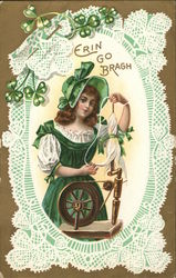 Erin Go Bragh-Woman in Green with Spinning Wheel