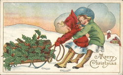 Merry Christmas-Children Pulling Sleigh Full of Holly