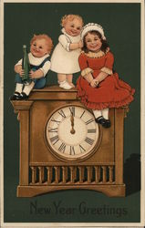 Two children Sit on a Clock While One Child Stands