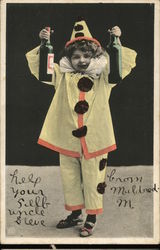 Boy Dressed as Clown with Wine Bottles
