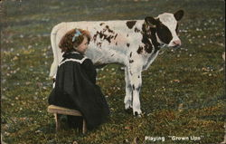 "Playing ""Grown Ups""- Girl Milking Cow"
