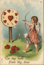Cupid Shooting Arrows at Target of Hearts