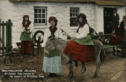 Ballymaclinton Coleens. 3 young woman and a mule (Irish) Postcard